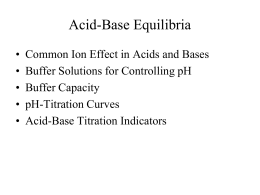 Chapter 15 – Acid-Base Equilibria