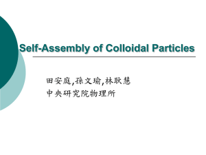 Self-Assembly of Colloidal Particles