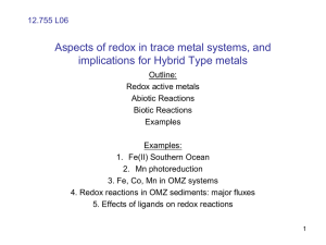 Brief overview of redox in trace metal systems