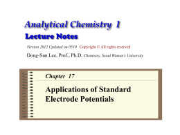 Analytical Chemistry lecture note: Applications of Standard