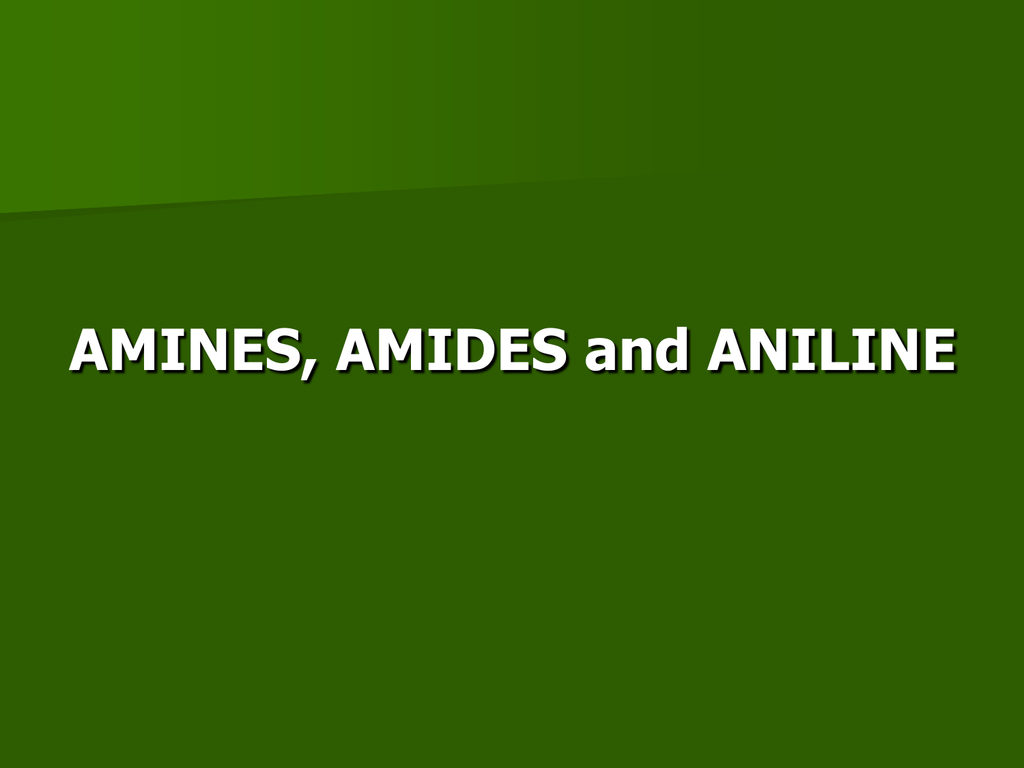 AMINES, AMIDES and ANILINE