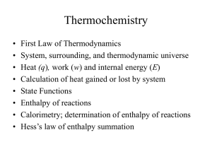 Chapter 6 – Thermochemistry