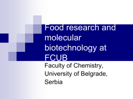 Food research and molecular biotechnology at FCUB - fcub