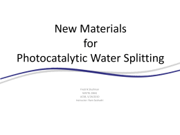 New Materials for Photocatalytic Water Splitting