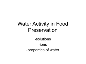 Water Activity in Food Preservation
