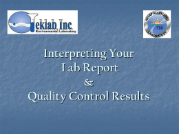 Interpreting the Quality Control Report