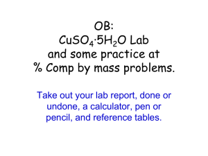 OB: CuSO4·5H2O Lab and some practice at % Comp by mass