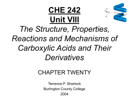 Chapter 20 Carboxylic Acids - chemistry