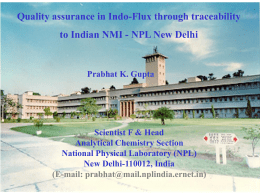 quality assurance in indo-flux through traceability to indian nmi
