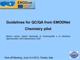 Guidelines for QC/QA from EMODNet Chemistry pilot