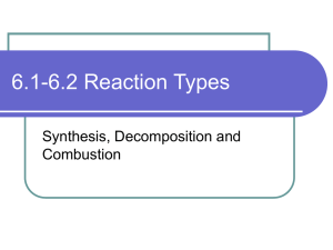 6.1-6.2 Synthesis, decompositon and combustion reactions