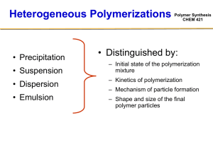 Polymer Synthesis CHEM 421