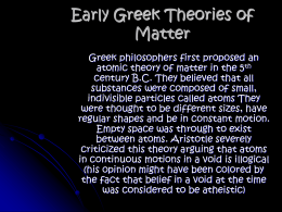 Early Greek Theories of Matter