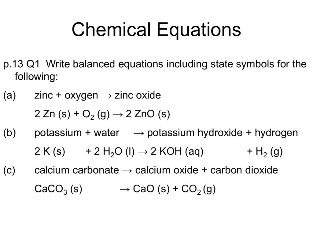 Equations And Moles