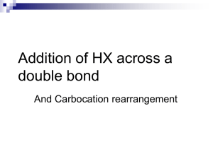 Addition of HX across a double bond