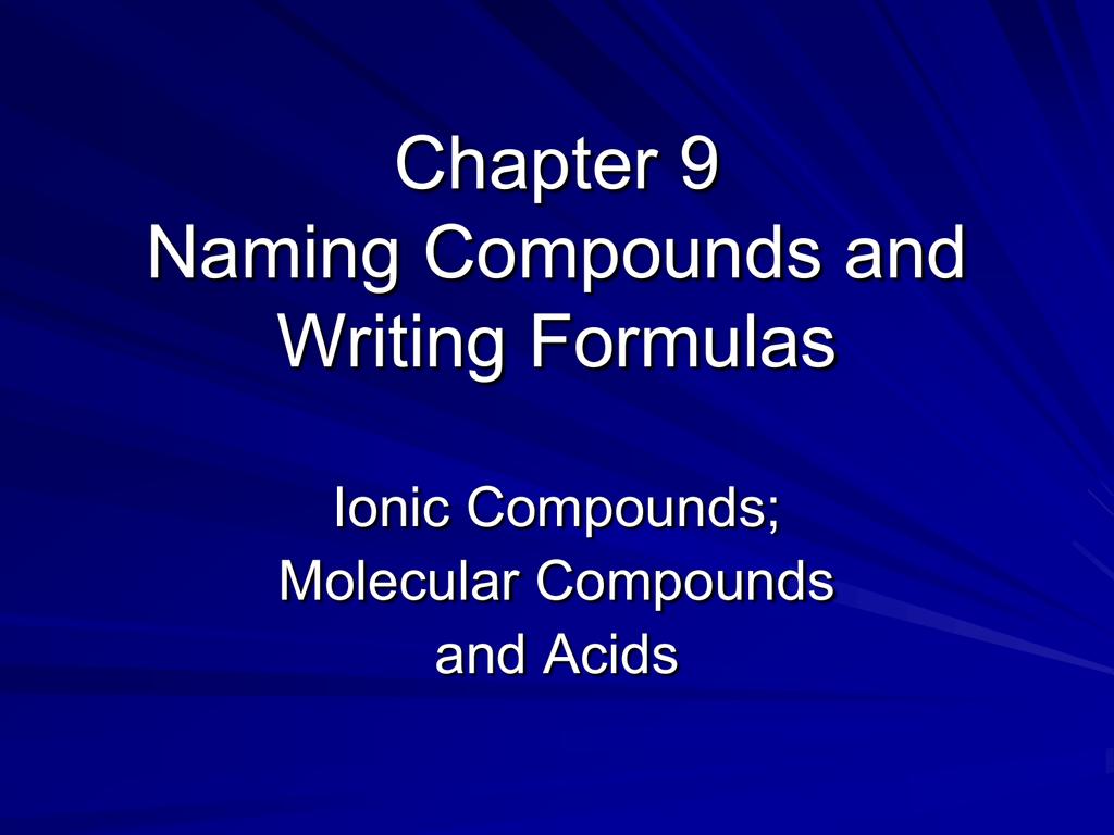 Formulas and Naming
