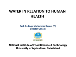 Water in Relation to Human Health