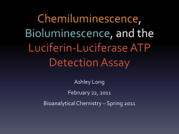 Bioluminescence: Luciferin-Lucferase ATP Detection Assay