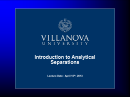 Introduction to Separations Science