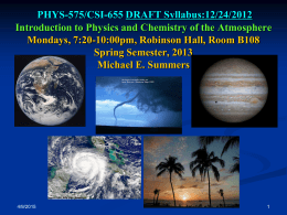 PHYS575 Syllabus - Atmospheric Physics 1