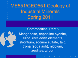 ME551/GEO551 Geology of Industrial Minerals Spring 2003