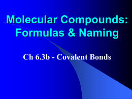 Describing Molecular Compounds