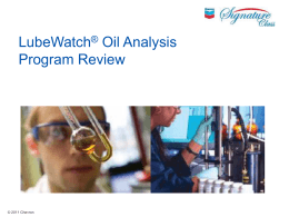 LubeWatch® Oil Analysis Program Review