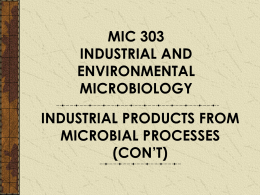 Industrial Product From Microbial Process