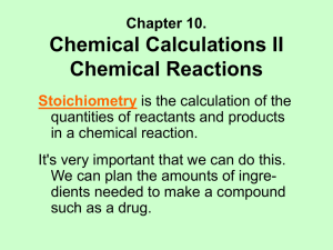 Chemical Calculations II: Reactions