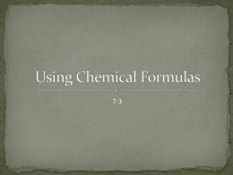 Using Chemical Formulas - Belle Vernon Area School District