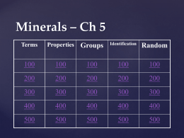 Ch 5 Minerals Jeopardy