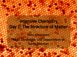 Intensive Chemistry: the Structure of Matter