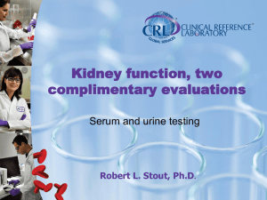 Dr. Stout`s presentation about renal tests