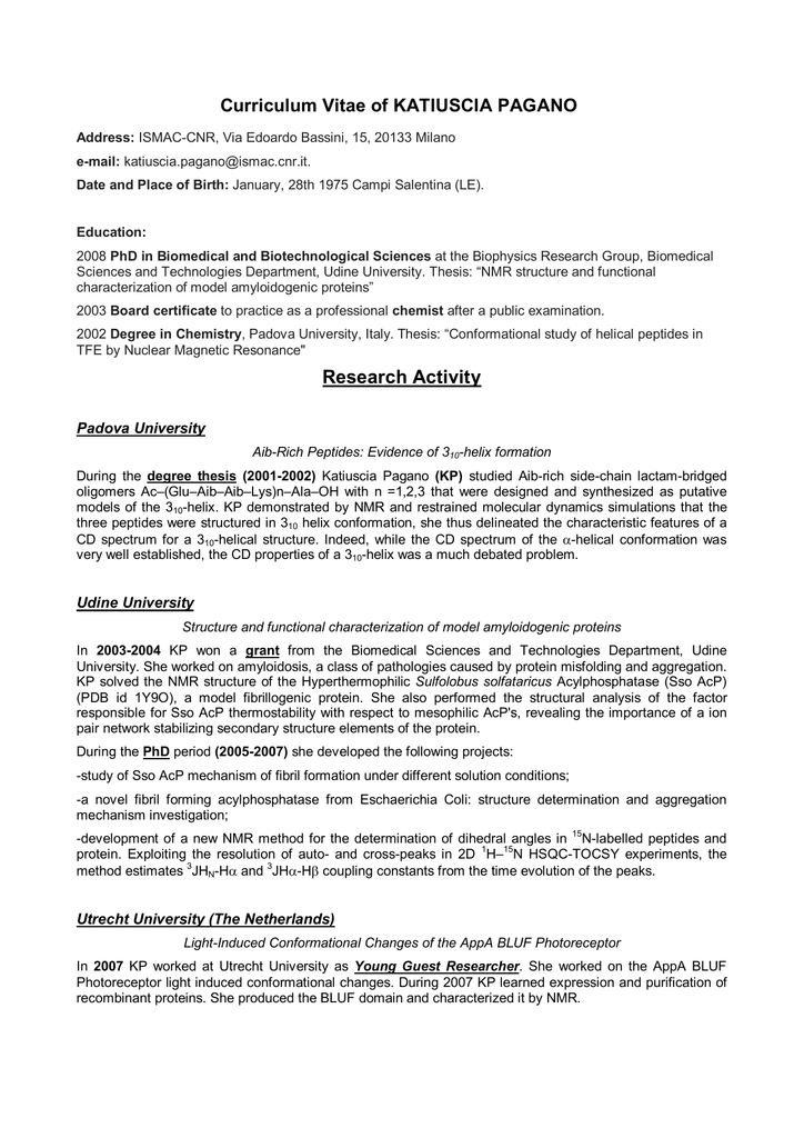 Curriculum Vitae Of Katiuscia Pagano Research Activity