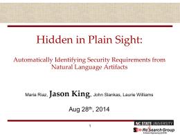 Presentation - John Slankas