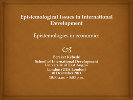Epistemological Issues in International Development