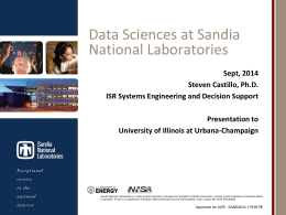"the talk, ""Data Sciences at Sandia National Laboratories."""