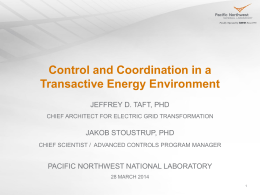 Transactive Energy - Lab for Cognition & Control in Complex Systems