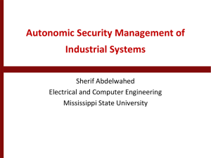 Autonomic Security Management of Industrial Systems - UNO-EF