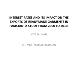 interest rates and its impact on the exports of readymade garments
