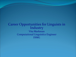 Career Opportunities for Linguists in Industry - Linguistics
