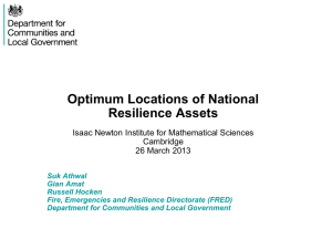 Optimum Locations of National Resilience Assets