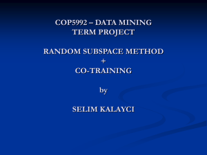 COP5992 – DATA MINING TERM PROJECT RANDOM SUBSPACE