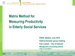 Matrix Method for Measuring Productivity in Elderly