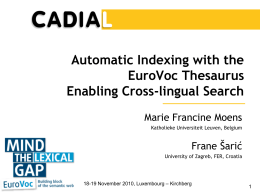 Automatic Indexing with the EUROVOC Thesaurus Enabling Cross