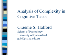 Analysis of Complexity in Cognitive Tasks Graeme S. Halford