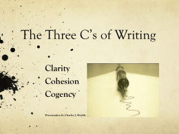 The Three C`s of Writing