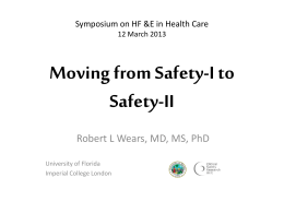 Moving from Safety I to Safety II