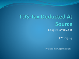 TDS-Tax Deducted At Source
