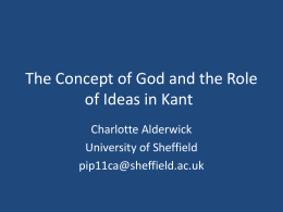 The Concept of God and the Role of Ideas in Kant